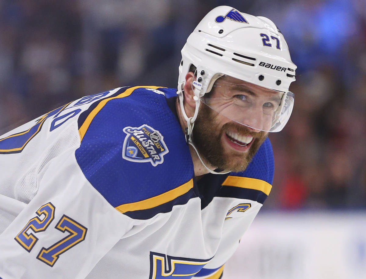 St. Louis Blues defenseman Alex Pietrangelo (27) looks on during the second period of an NHL ho ...