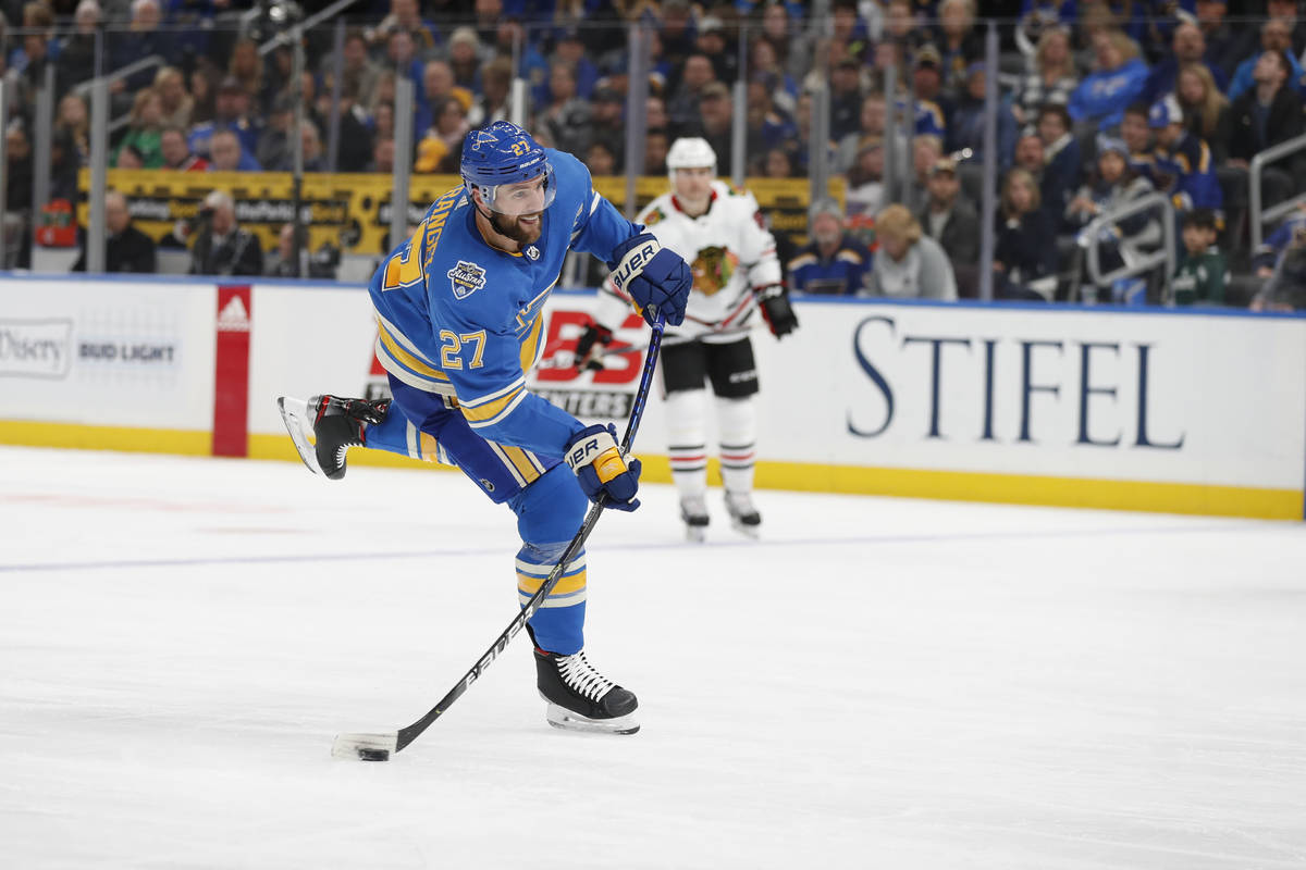 St. Louis Blues' Alex Pietrangelo shoots during the second period of an NHL hockey game against ...