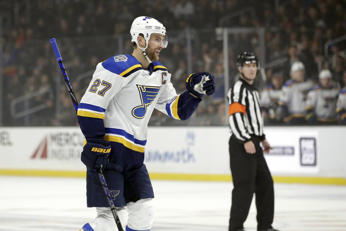 St. Louis Blues' Alex Pietrangelo (27) celebrates after scoring against the Los Angeles Kings d ...