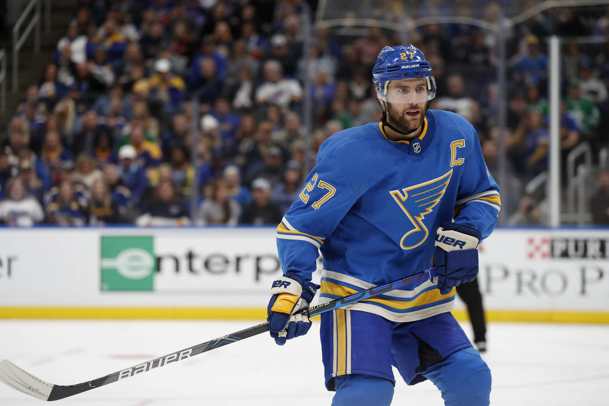 St. Louis Blues' Alex Pietrangelo in action during the third period of an NHL hockey game again ...