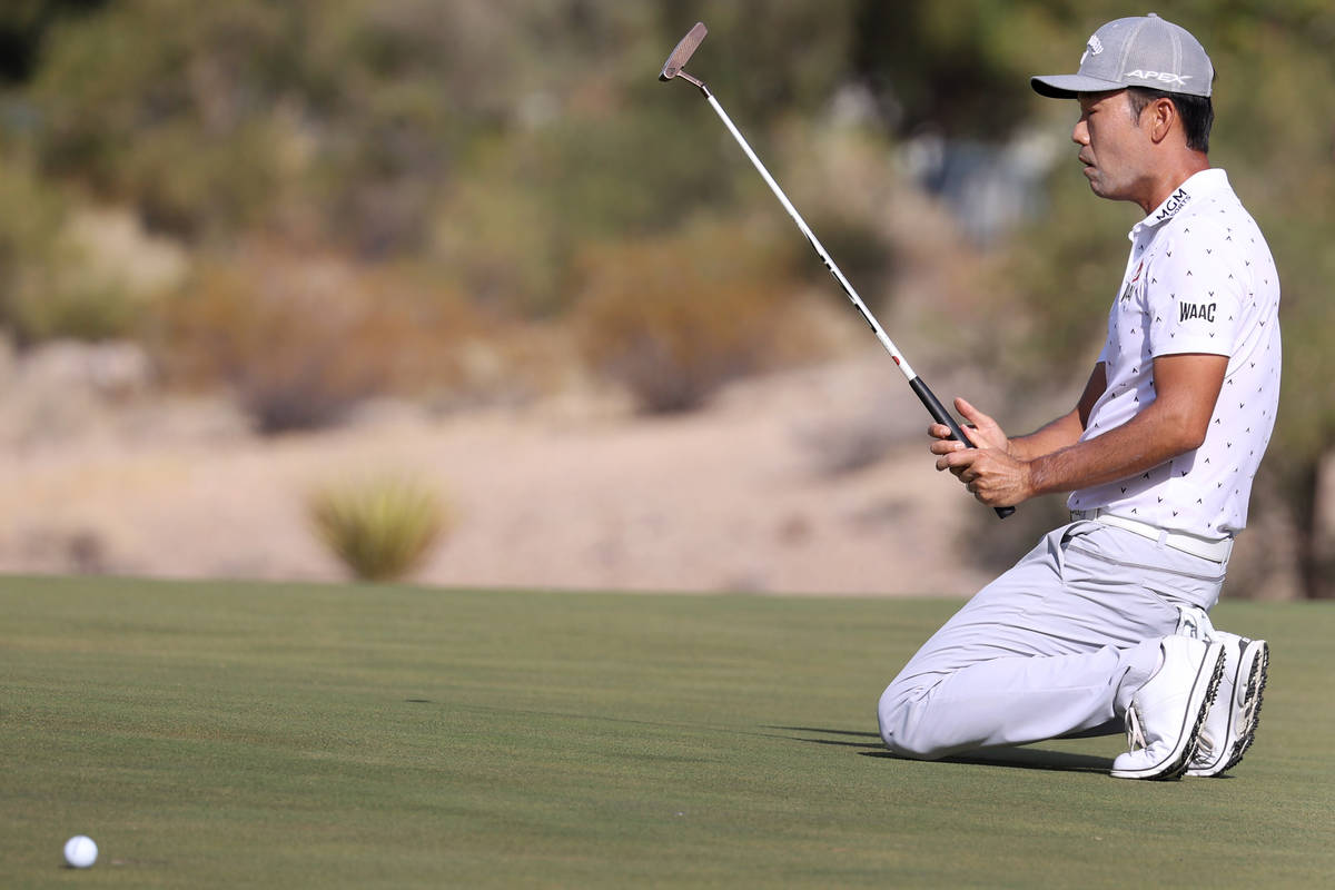 Kevin Na reacts after missing a putt for an eagle at the 15th hole during round three of the 20 ...