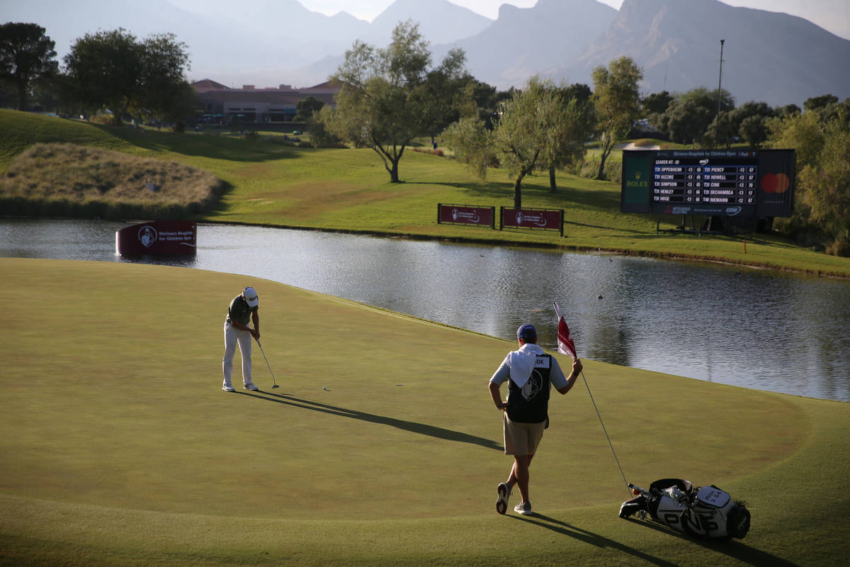 Austin Cook putts for a birdie at the 17th hole during round three of the 2020 Shriners Hospita ...