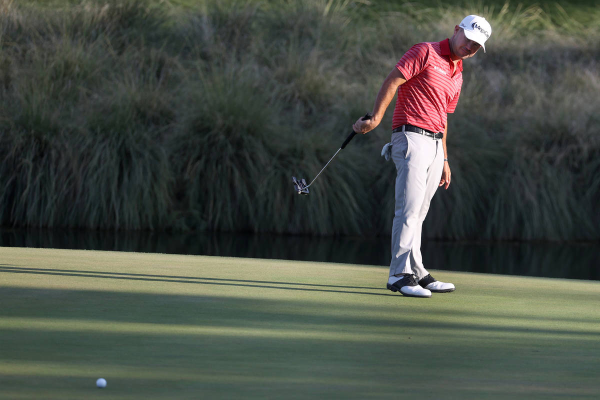 Brian Harman reacts to missing a putt at the 18th hole during round three of the 2020 Shriners ...