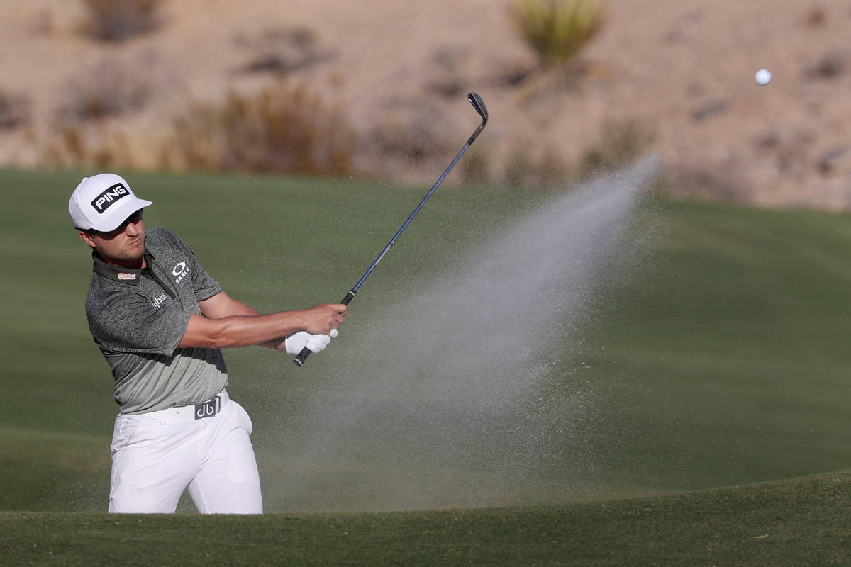 Austin Cook hits a bunker shot at the 15th hole during round three of the 2020 Shriners Hospita ...
