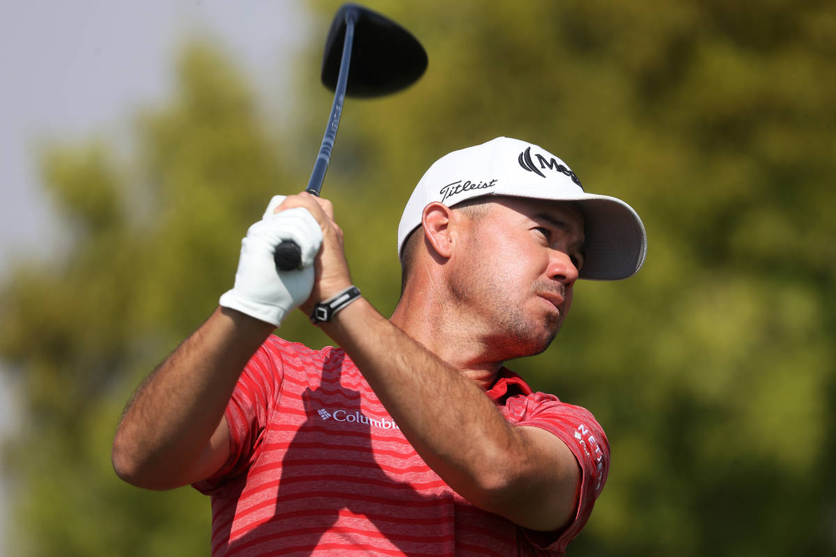Brian Harman tees off at the first hole during round three of the 2020 Shriners Hospitals for C ...
