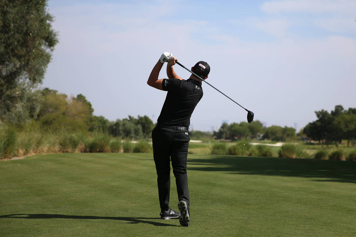 Patrick Cantlay tees off the fourth hole during round three of the 2020 Shriners Hospitals for ...