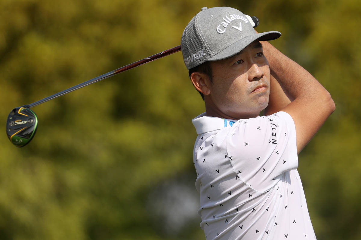 Kevin Na tees off the first hole during round three of the 2020 Shriners Hospitals for Children ...
