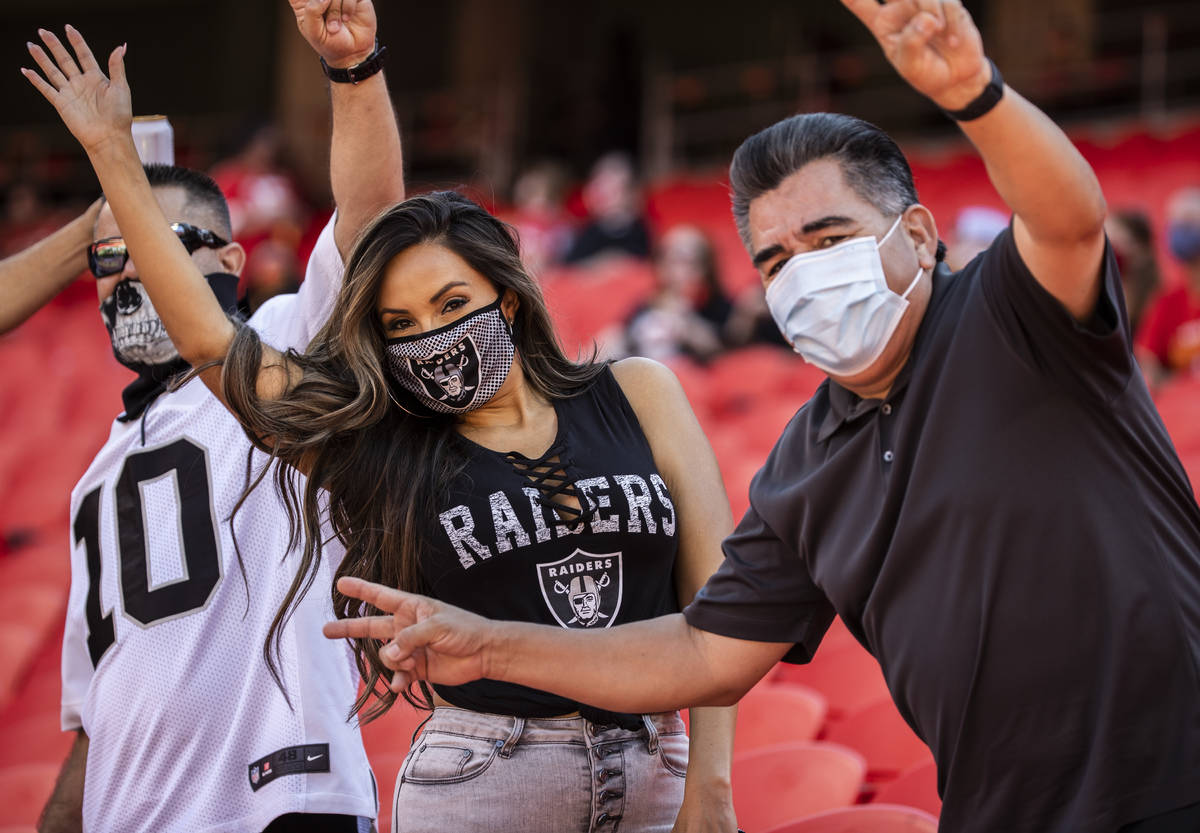 Las Vegas Raiders fans at Arrowhead Stadium before the start of an NFL football game with the K ...