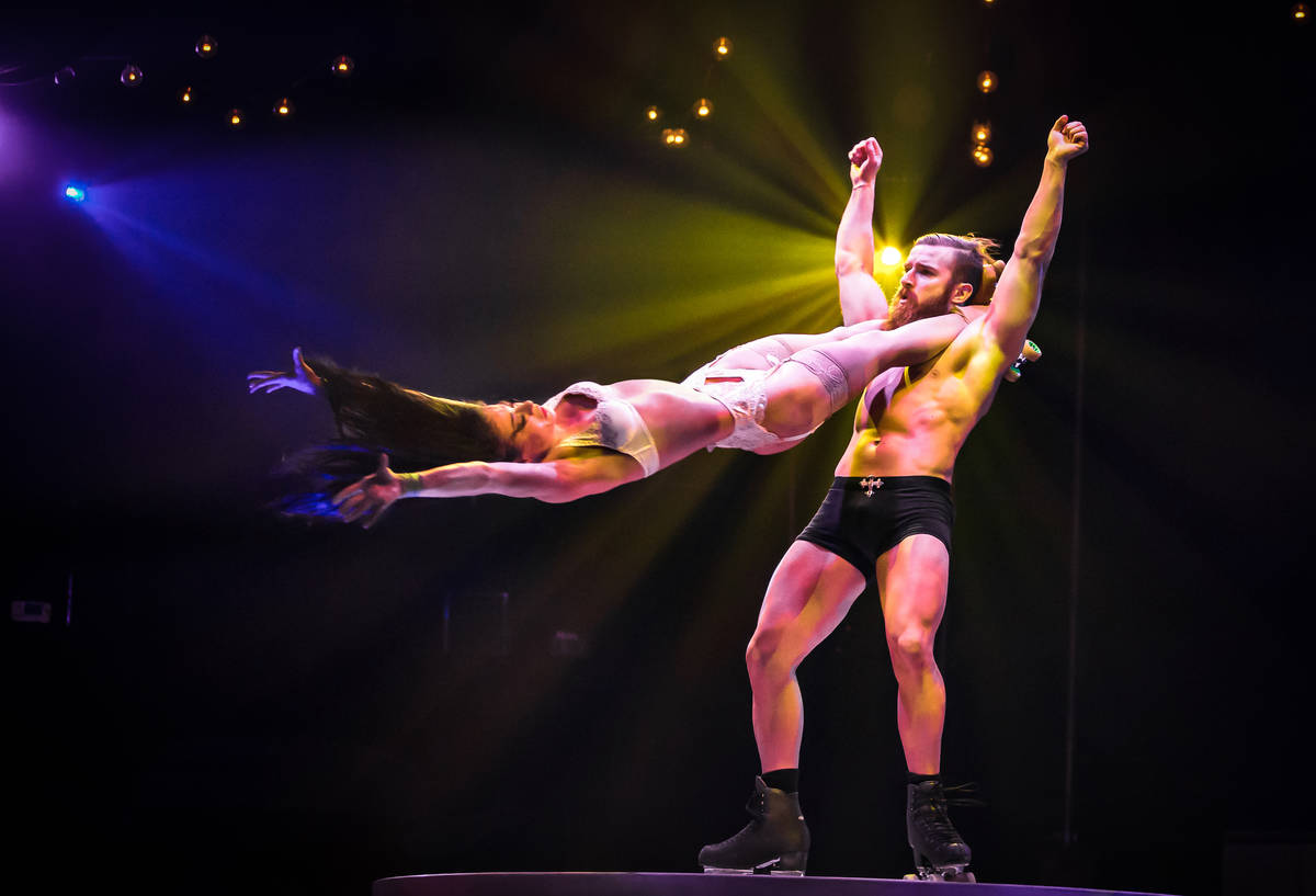 "The Skates of Hell act, starring Emily and Billy England, in ""Absinthe"" at Caesars Palace. (Eri ..."
