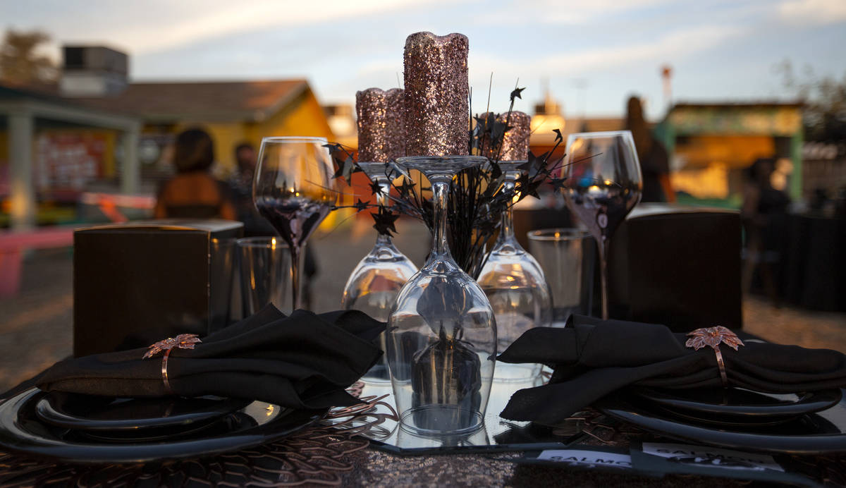 The decor at one guest's table during a Noir Culinary Experience dinner to promote Black chefs ...