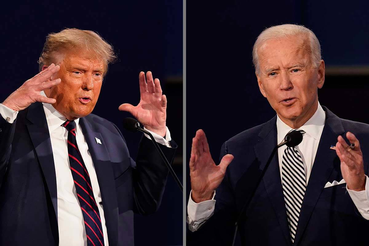 President Donald Trump, left, and former Vice President Joe Biden during the first presidential ...