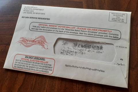 Balloting information enclosed with mail-in ballots sent to voters in Lyon and Humboldt countie ...