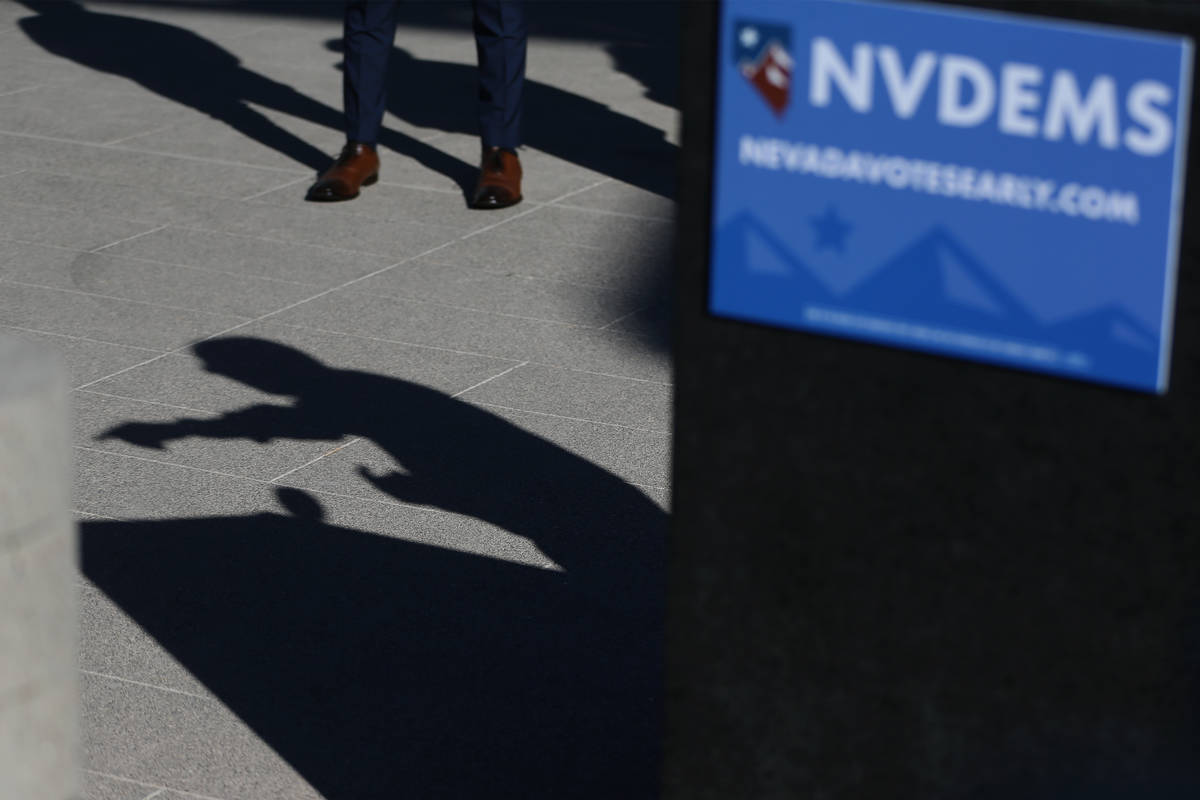 The shadow of Democratic National Committee Chair Tom Perez while speaking during a press confe ...