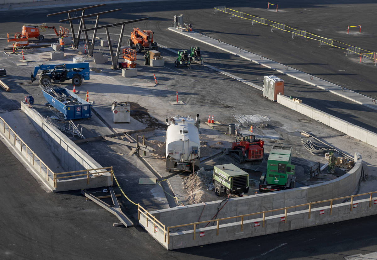 One of the underground people mover stations is seen under construction just north east the Las ...
