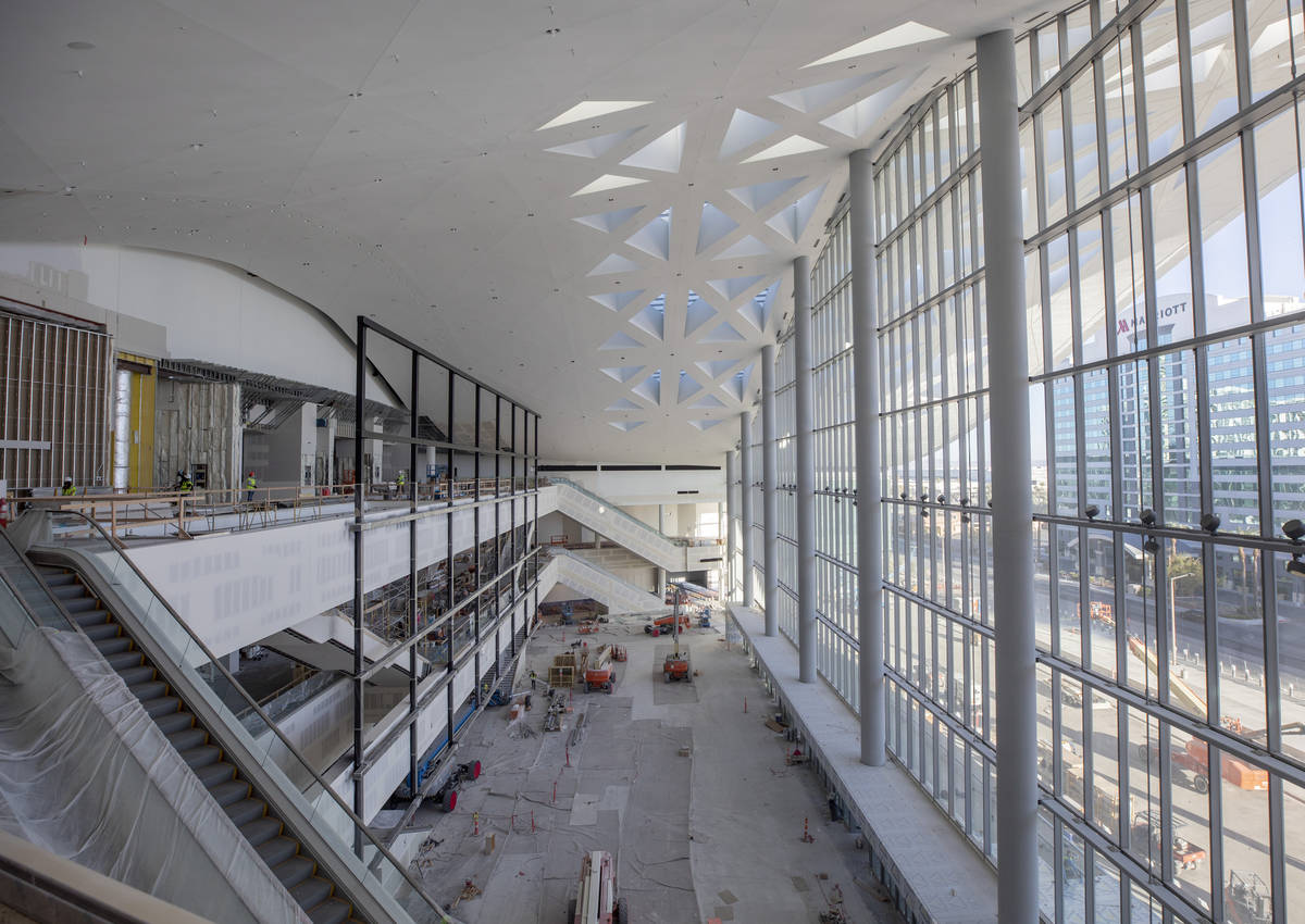 The main entrance and atrium of the Las Vegas Convention Center West Hall is seen under constru ...