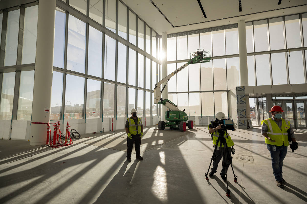 Construction material is seen during a media tour of the Las Vegas Convention Center West Hall, ...