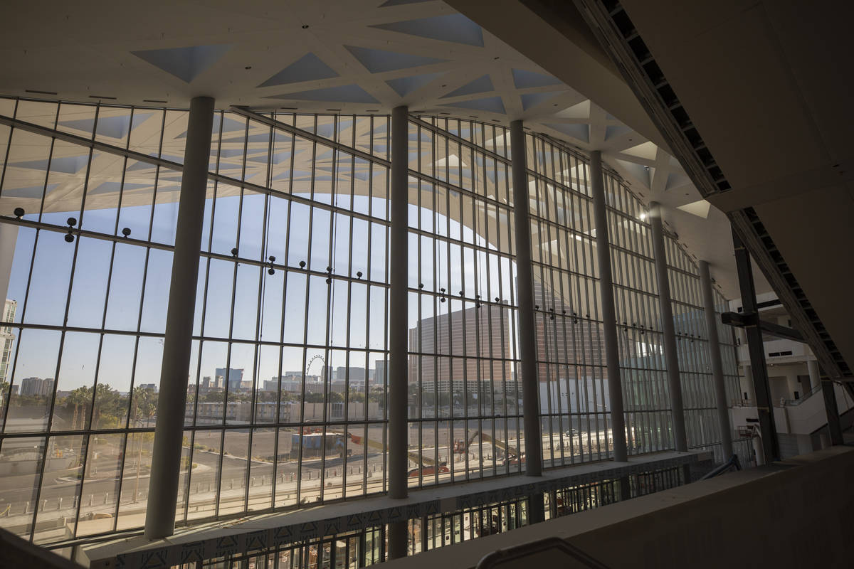 The Las Vegas Strip is seen from the main lobby and atrium during a tour of the Las Vegas Conve ...