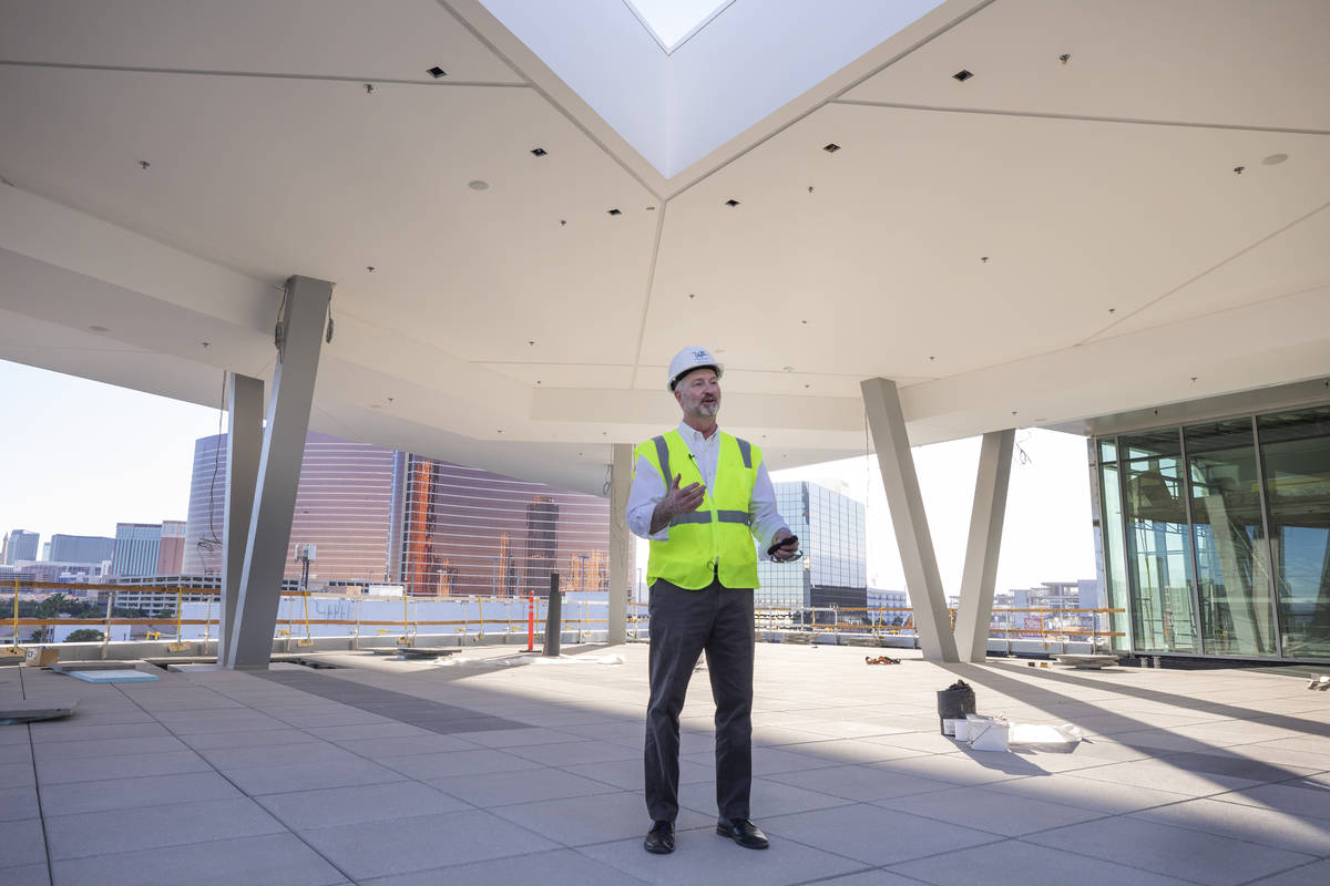 Steve Hill, Chief Executive Officer of the Las Vegas Convention and Visitors Authority, gives a ...