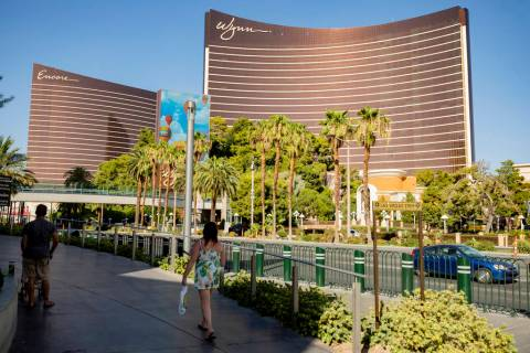 A view of the Wynn Las Vegas and Encore along the Las Vegas Strip on Thursday, Aug. 6, 2020, in ...