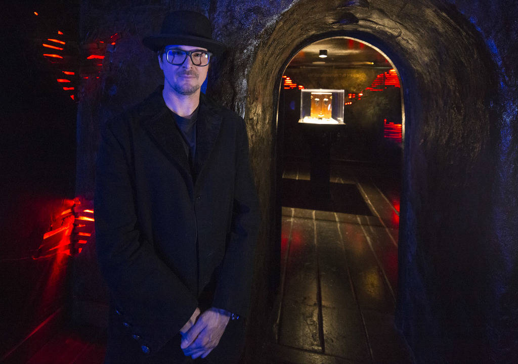 Ghost hunter Zak Bagans poses outside the room holding his Dybbuk Box, known as the worldÕ ...