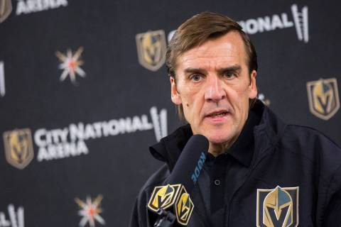 Vegas Golden Knights General Manager George McPhee speaks during a news conference at City Nati ...