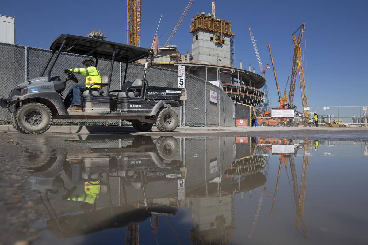 MSG Sphere Las Vegas is under construction on Wednesday, Oct. 14, 2020, in Las Vegas. (Ellen Sc ...