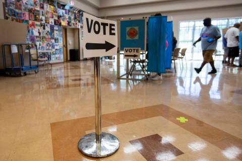 Doolittle Community Center is open for early voting on Saturday, Oct. 17, 2020, in Las Vegas. ( ...