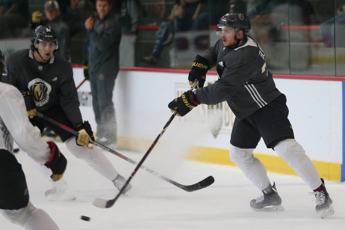 Vegas Golden Knights center Lucas Elvenes (70) makes a pass during a team practice at City Nati ...