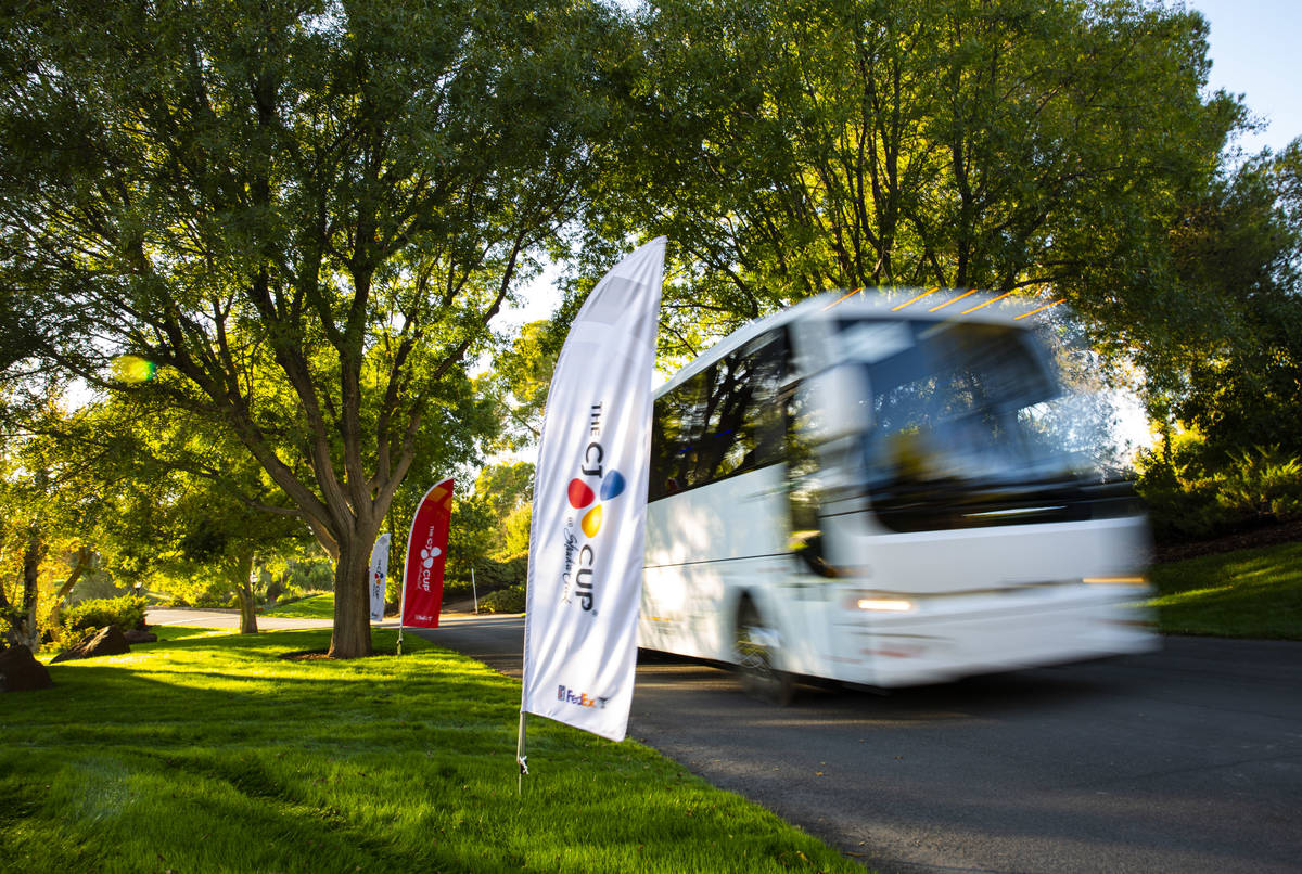 A shuttle passes by signage for the CJ Cup at the Shadow Creek Golf Course in North Las Vegas o ...