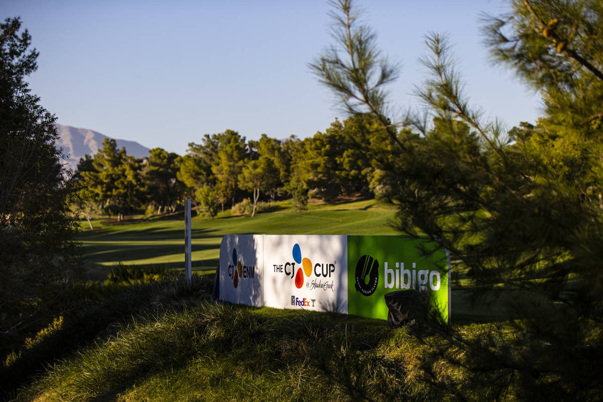 Signage for the CJ Cup at the Shadow Creek Golf Course is seen in North Las Vegas on Wednesday, ...
