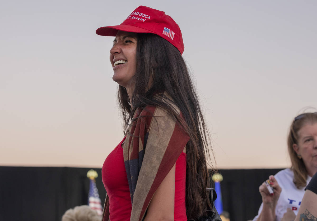 Jaime Heller, 37, of Las Vegas, waits for Donald Trump Jr. to speak at a campaign event for Pre ...