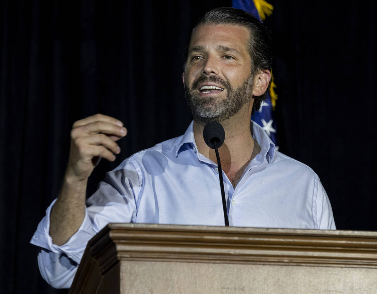 Donald Trump Jr. speaks at a campaign event for President Trump on Wednesday evening, Oct. 14, ...