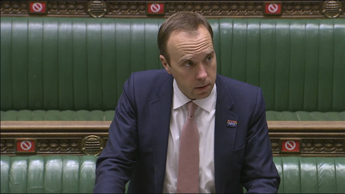 In this image from video, Britain's Health Secretary Matt Hancock delivers a statement on COVID ...