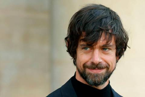 In this June 7, 2019, file photo, Twitter CEO Jack Dorsey leaves after his talk with French Pre ...