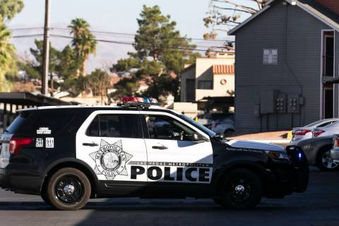 Las Vegas police investigate a stabbing at an apartment complex on 3070 S. Nellis Blvd., near V ...