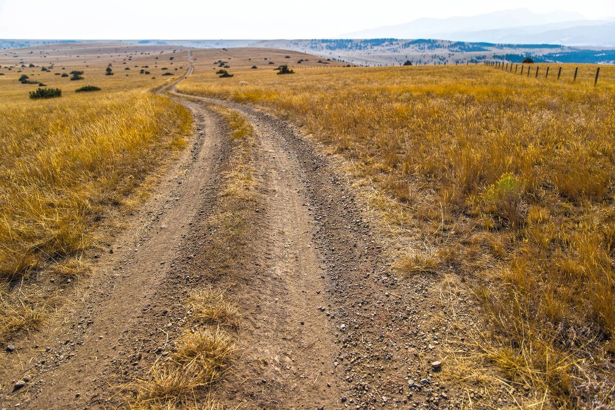 Winding dirt roads are scattered throughout the 30,000 acres at Rock Creek Cattle Company on Fr ...