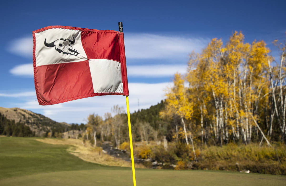 The 18th hole at Rock Creek Cattle Company golf course on Friday, Oct. 9, 2020, in Deer Lodge, ...