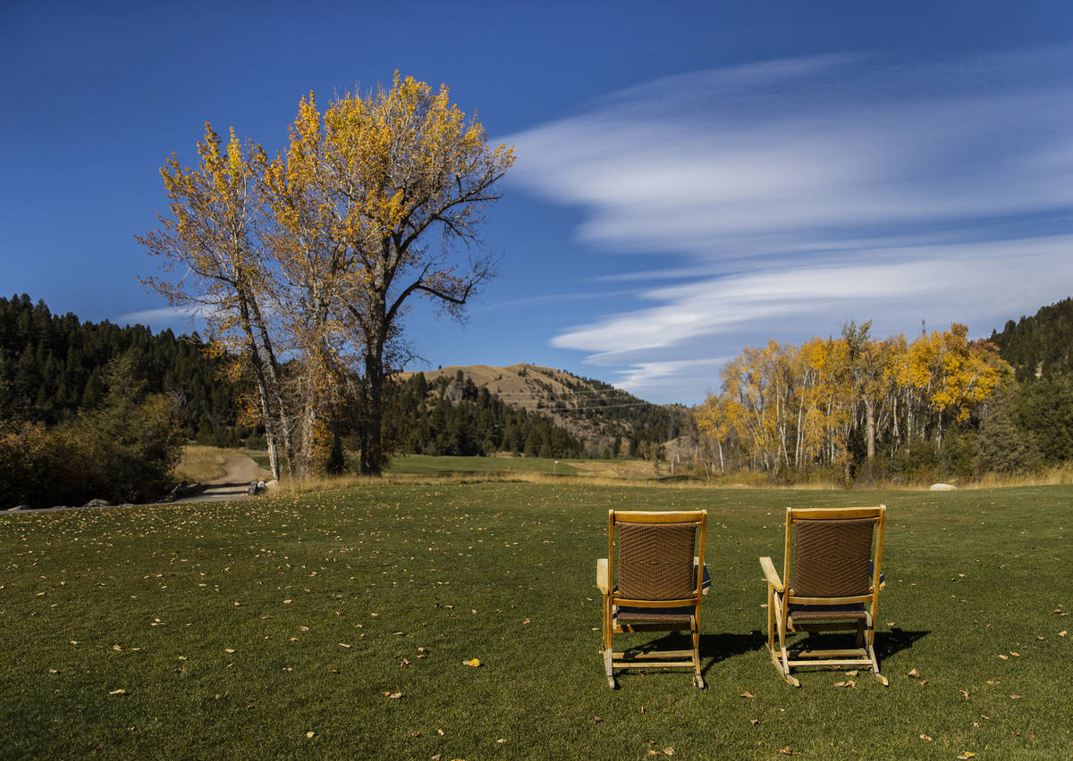 The view from the 18th hole of Rock Creek Cattle Company golf course on Friday, Oct. 9, 2020, i ...