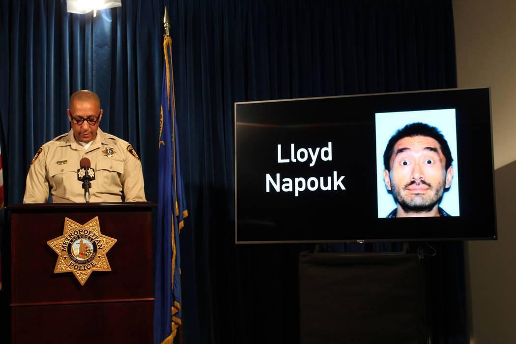 Assistant Sheriff Charles Hank briefs news media on Oct. 30, 2018, at Metropolitan Police Depar ...