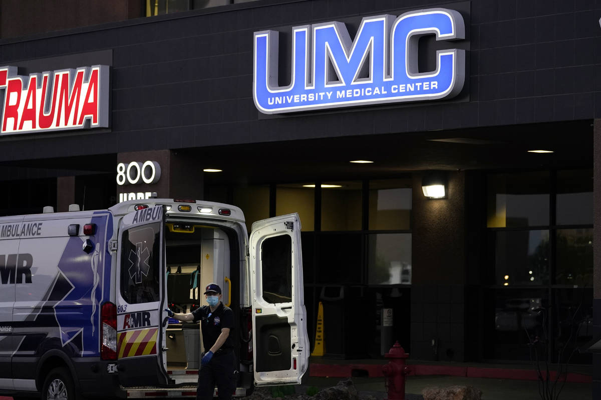 An ambulance is parked at the University Medical Center in Las Vegas, Oct. 12, 2020. U.S. diplo ...