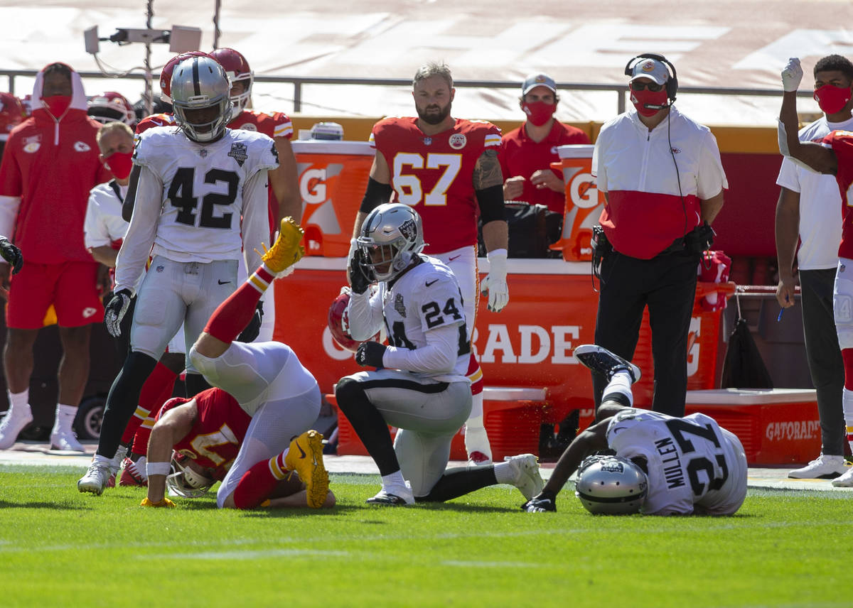 Las Vegas Raiders strong safety Johnathan Abram (24) looks on after tackling Kansas City Chiefs ...