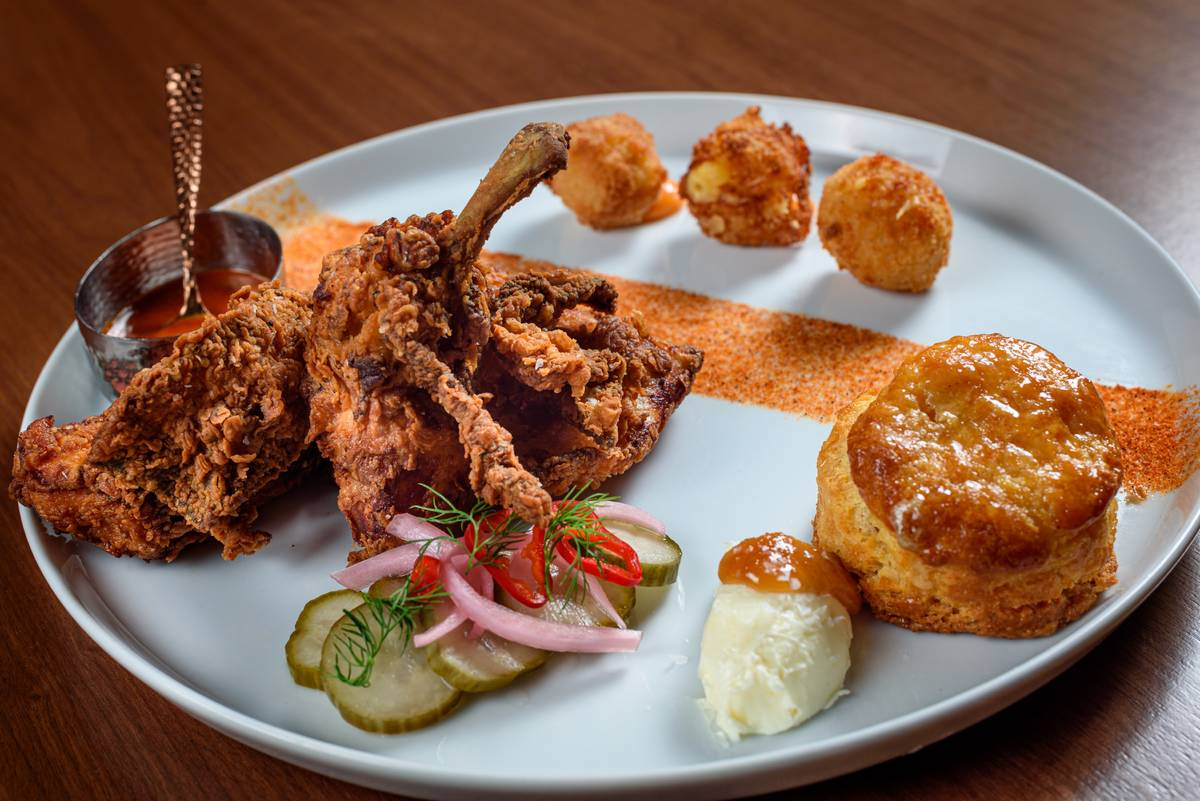 Chef Lamar's fried chicken. (Patrick Gray, Kabik Photo Group)