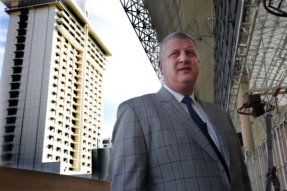 Derek Stevens, operator of the D Las Vegas and Golden Gate, stands at the site of his new prope ...