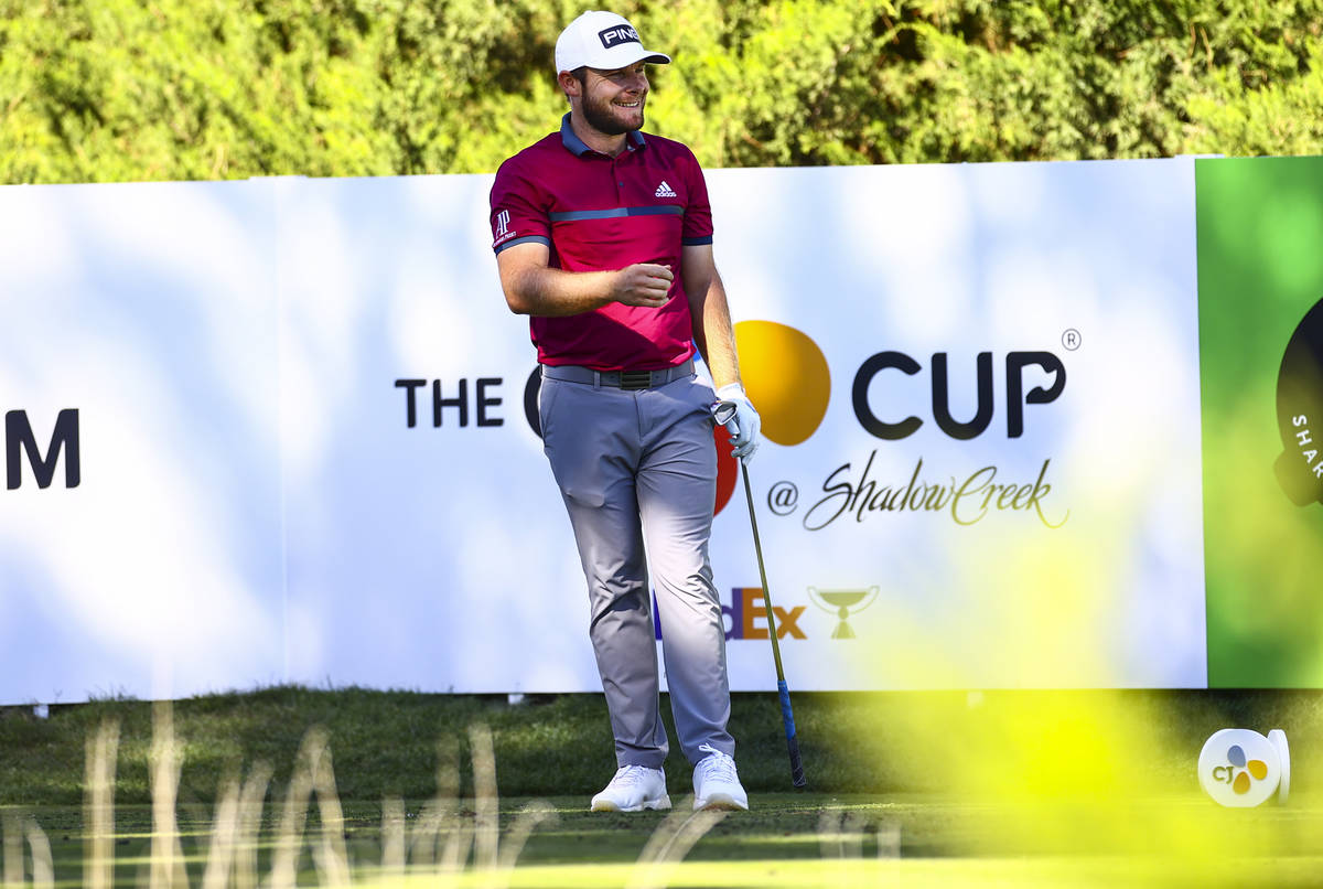 Tyrrell Hatton reacts after his tee shot at the fifth hole during the first round of the CJ Cup ...