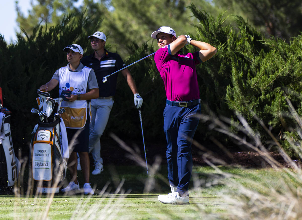 Xander Schauffele tees off at the fifth hole during the first round of the CJ Cup at the Shadow ...