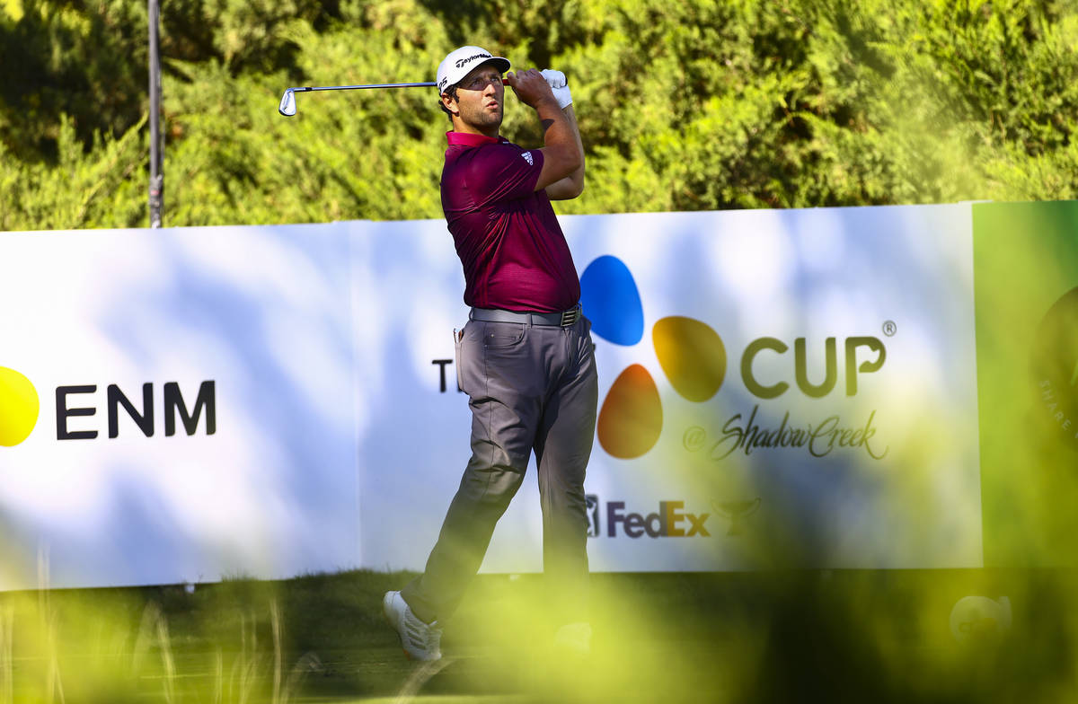 Jon Rahm watches his tee shot at the fifth hole during the first round of the CJ Cup at the Sha ...