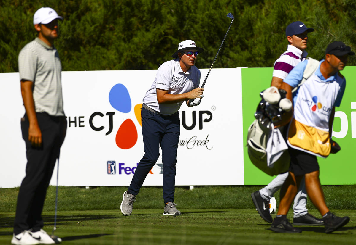 Joel Dahmen watches his tee shot at the fifth hole during the first round of the CJ Cup at the ...