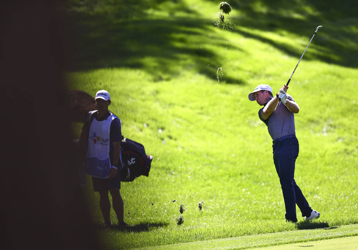 Tyler Duncan hits a fairway shot at the 10th hole during the first round of the CJ Cup at the S ...