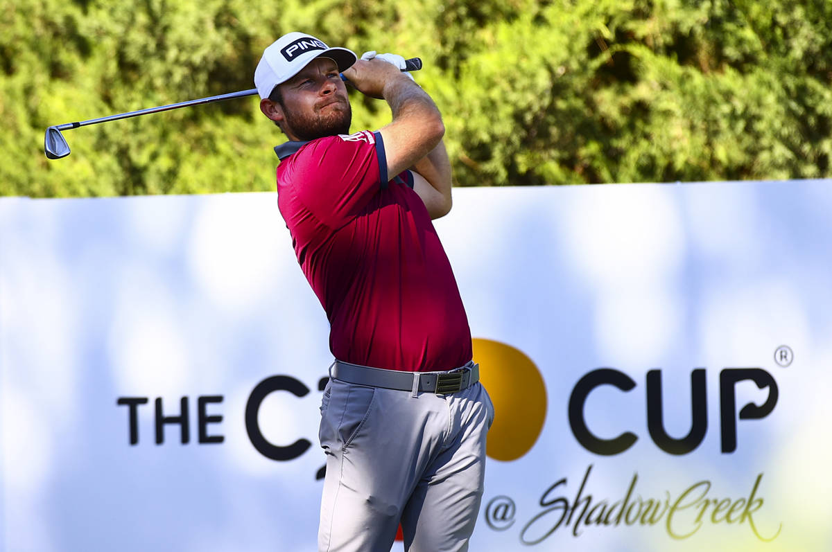 Tyrrell Hatton watches his tee shot at the fifth hole during the first round of the CJ Cup at t ...