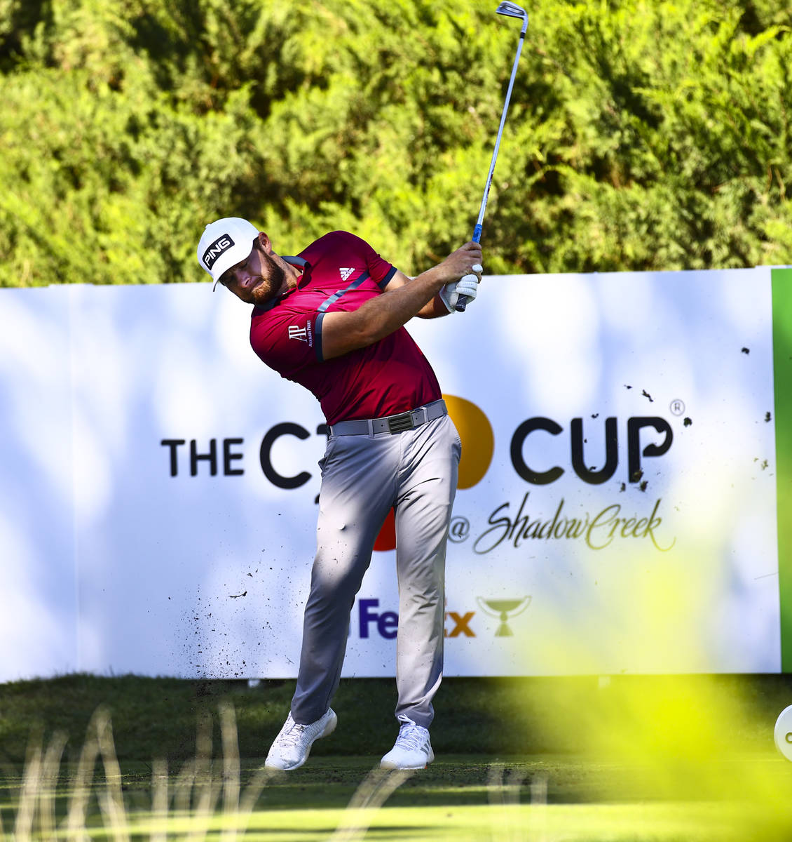 Tyrrell Hatton tees off at the fifth hole during the first round of the CJ Cup at the Shadow Cr ...